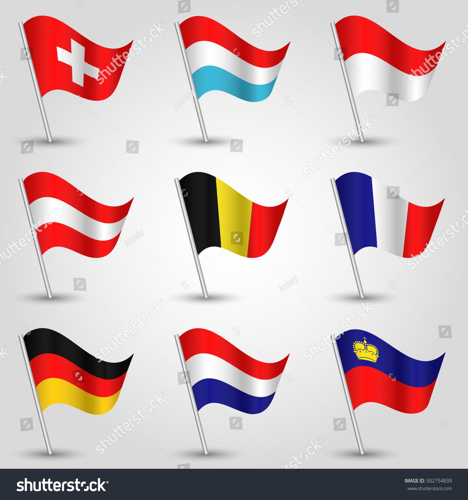 Vector Set Nine Flags Waving Simple Stock Vector 502754839 ...