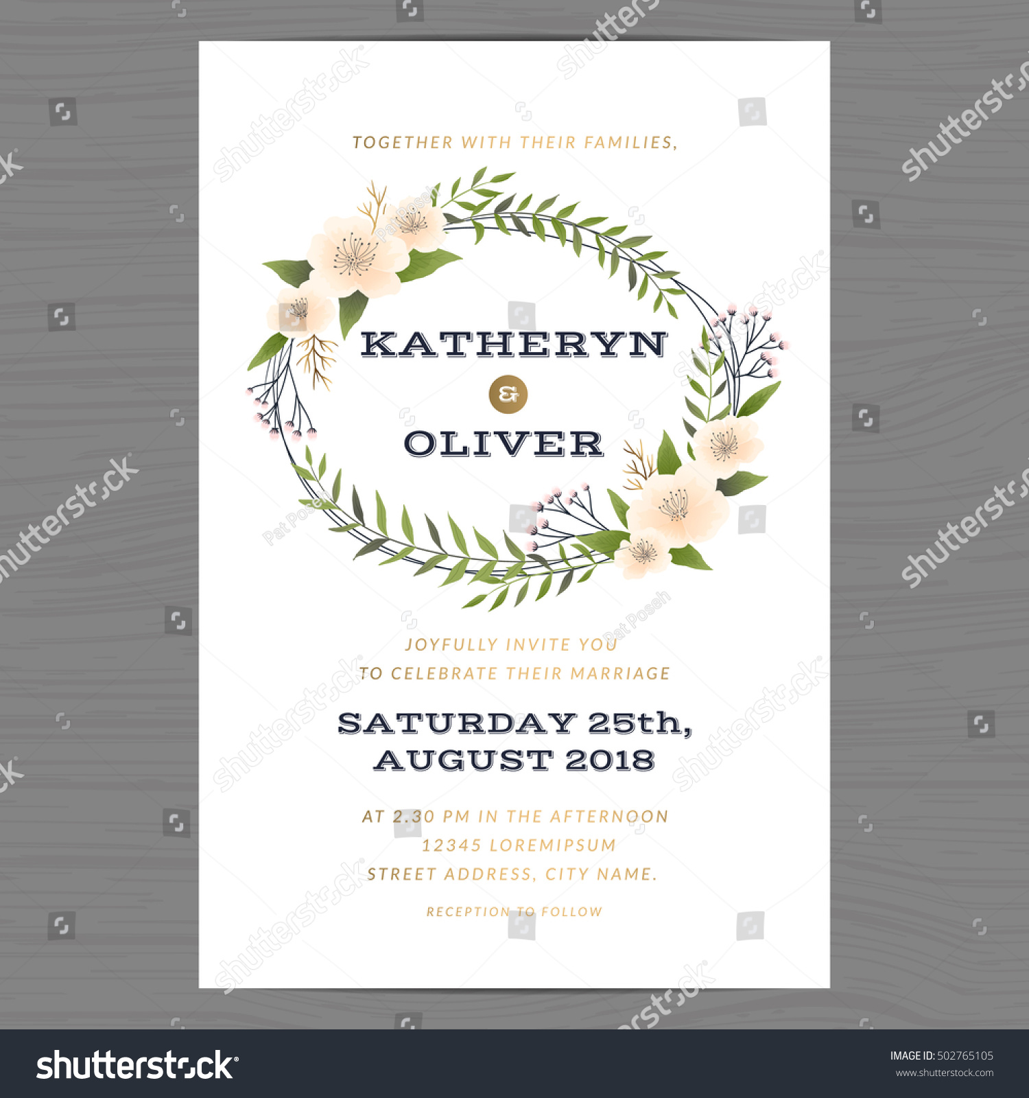 Wedding Invitation Card Template Decorate Flower Stock Vector HD