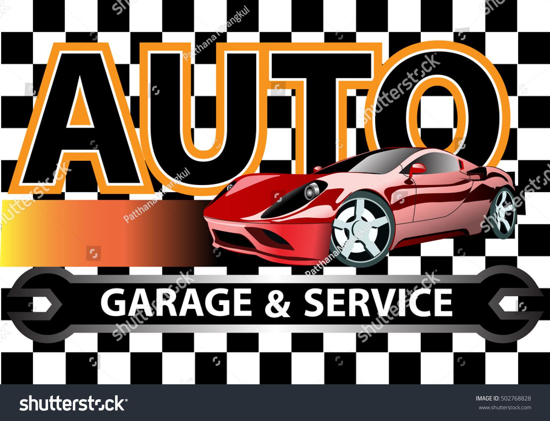 Auto car garage and service logo design on checkered flag for Garage villeneuve auto service