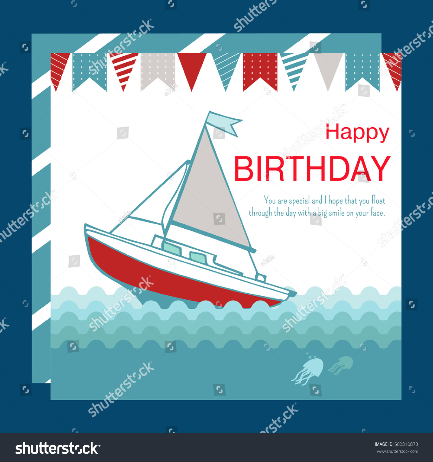 Nautical Happy Birthday Card Design Boat Stock Vector 502810870