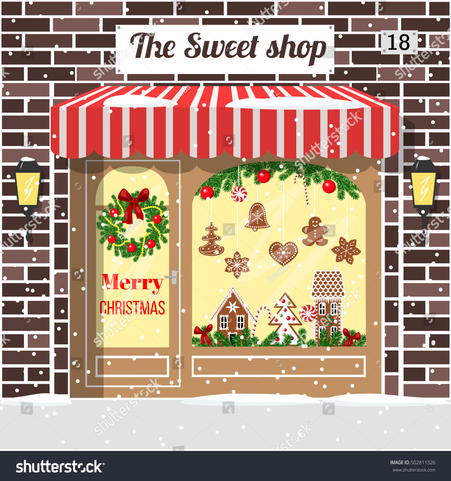 Christmas Room Stock Vector Image Of Illuminated: Christmas Decorated Illuminated Sweet Shop Candy Stock