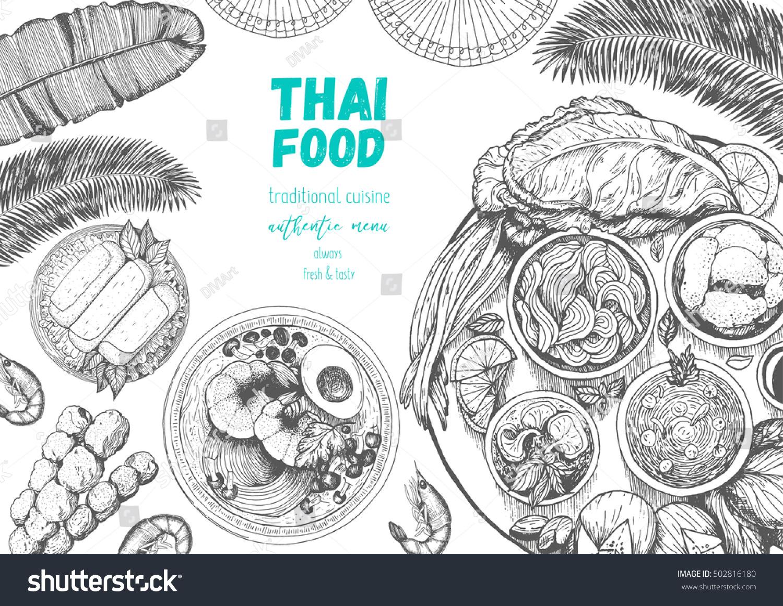Interesting Asian Food Poster Thai Food Menu Restaurant Thai Food Sketch With Poster Cuisine