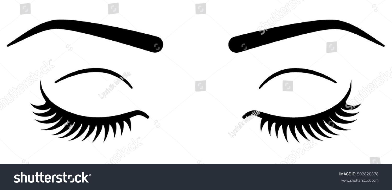 Closed Eyes Eyelashes Vector Shutterstock