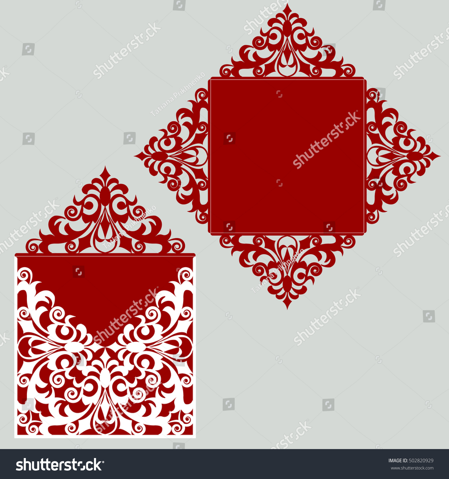 Square Laser Cut Wedding Invitation Template Stock Vector 502820929 ...