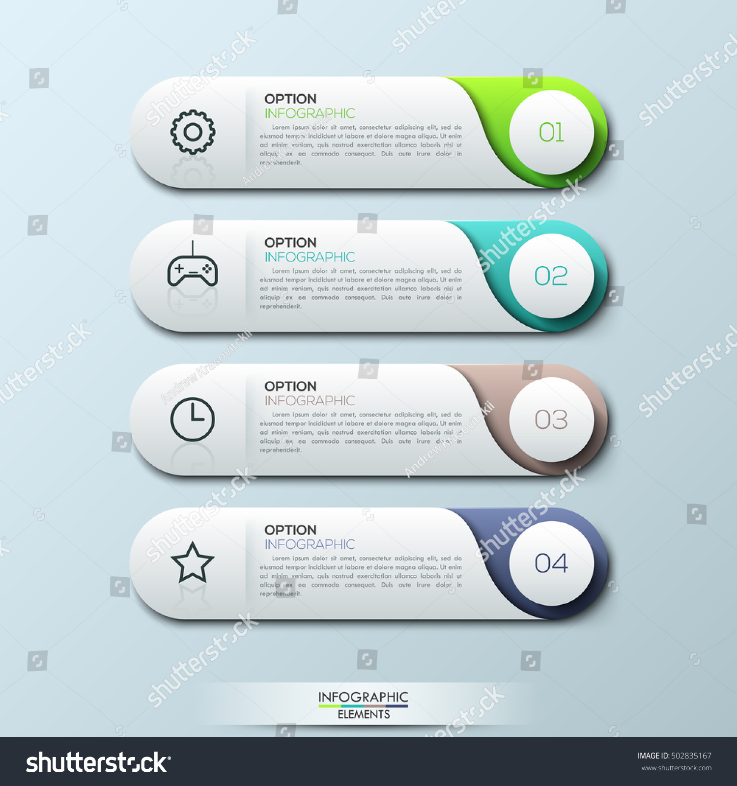 Infographic Design Template With 4 Separate Numbered Rounded Rectangles.  Game Setup User Manual. Gaming  Product Manual Template