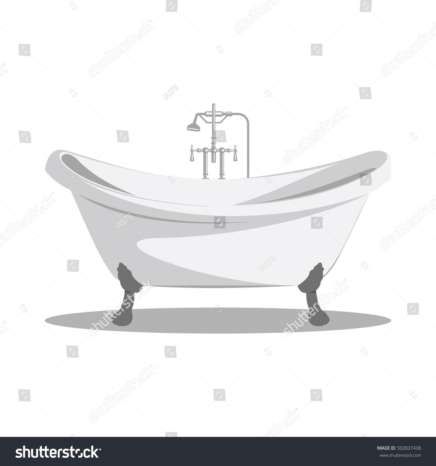 bathtub cartoon. Cartoon retro bathtub icon white with arms and legs shadow at the  bottom Vector Retro Bathtub Icon White Arms Stock 502837438
