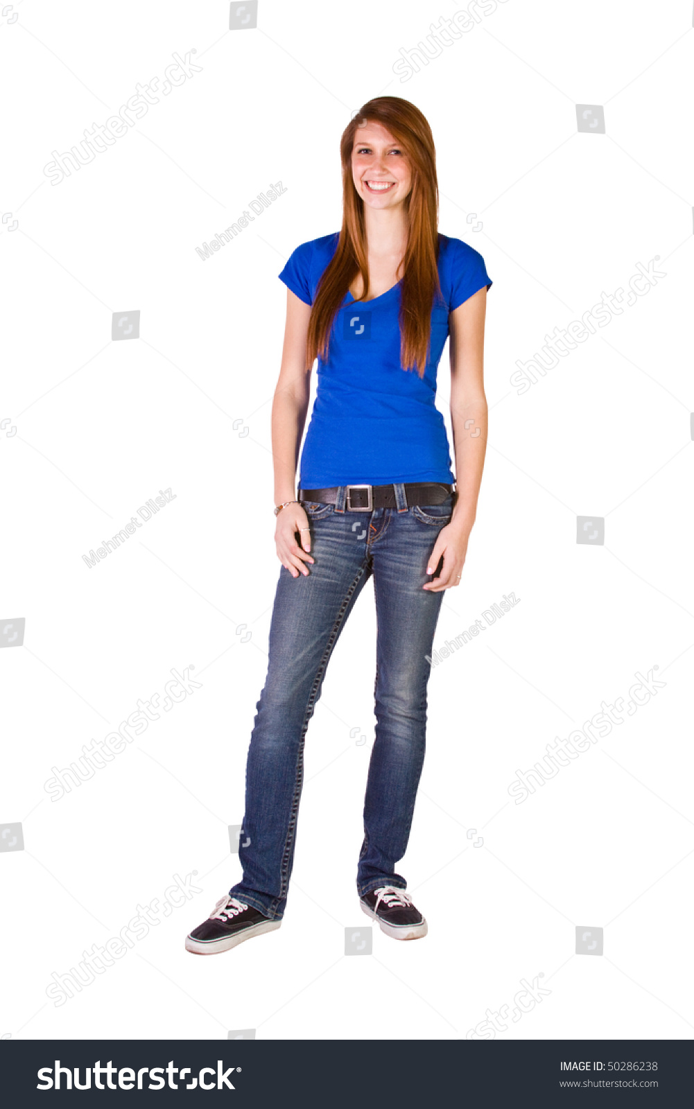 Beautiful Girl Standing Up On An Isolated Background Stock