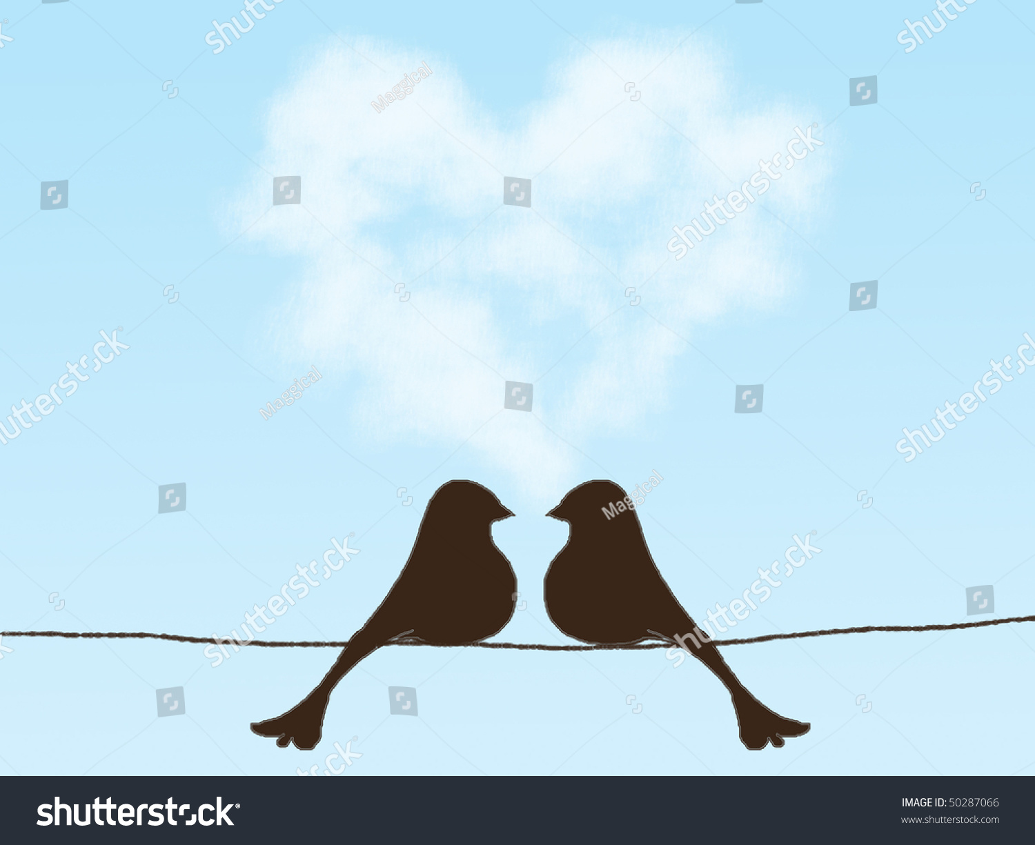 Two Birds On Telephone Wire Stock Illustration 50287066 - Shutterstock