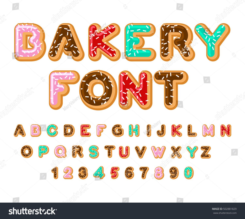 Bakery font donut abc baked oil stock vector 502881829 for Cuisine font