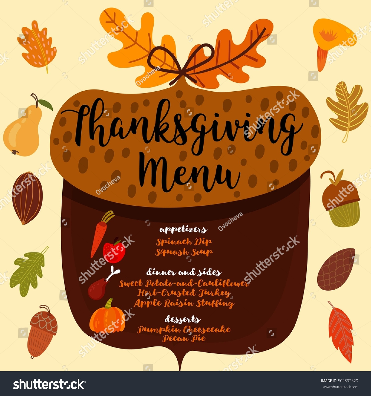 Thanksgiving Menu Invitation Design Thanksgiving Dinner Stock ...