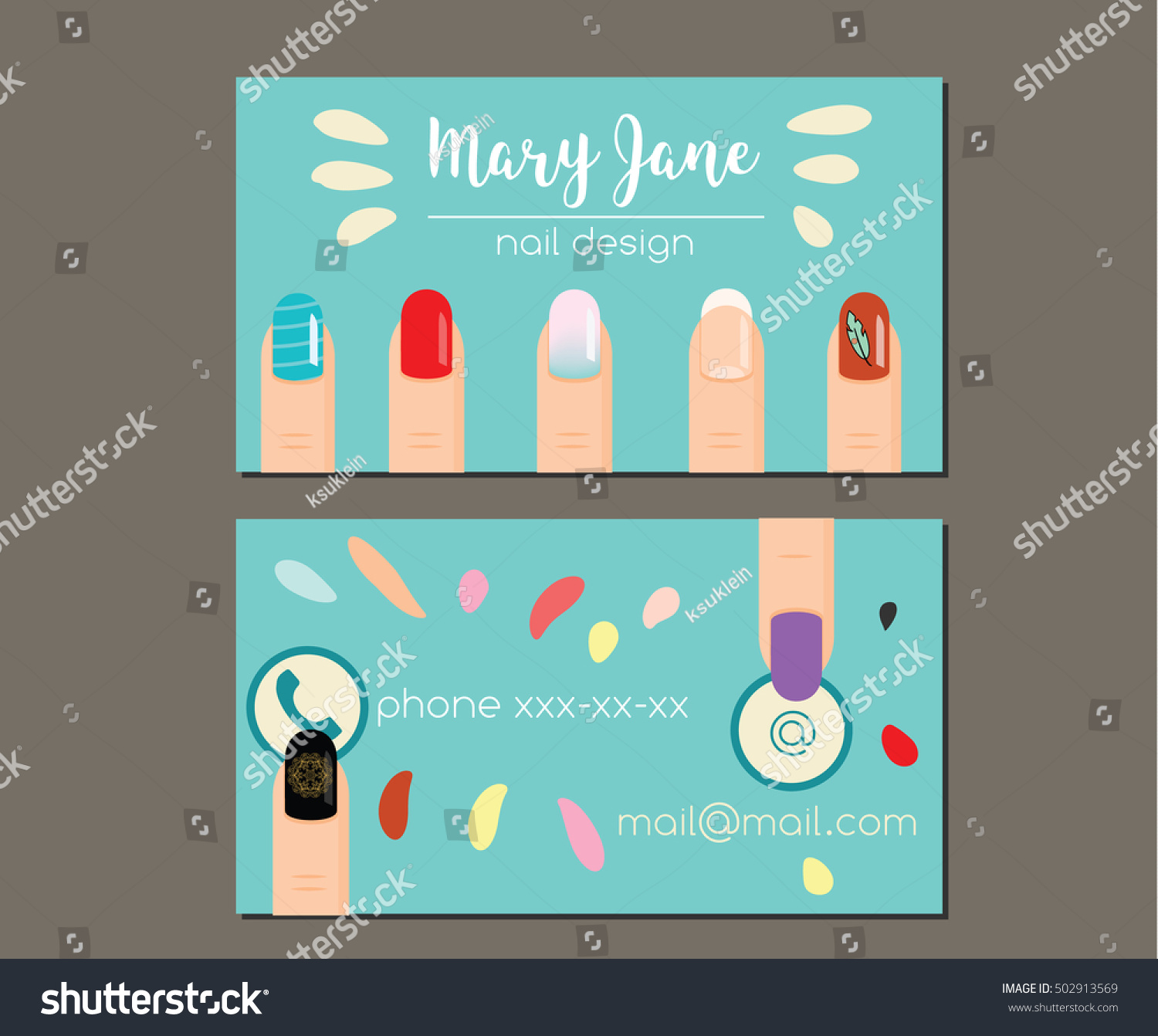 Business Card Design Template Woman Fingers Stock Vector (2018 ...