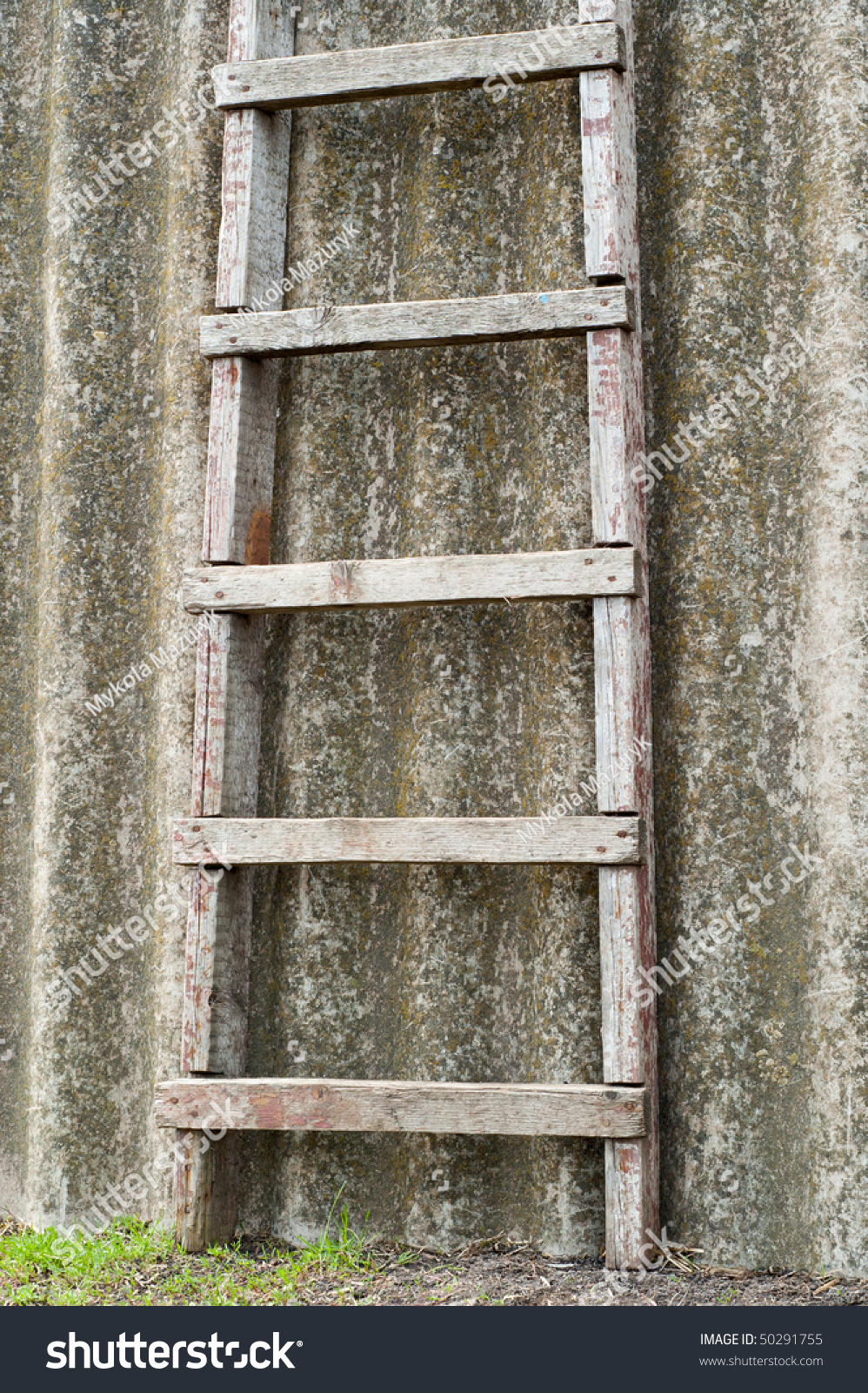 Wooden Ladder Near Old Roofing Slate Stock Photo 50291755