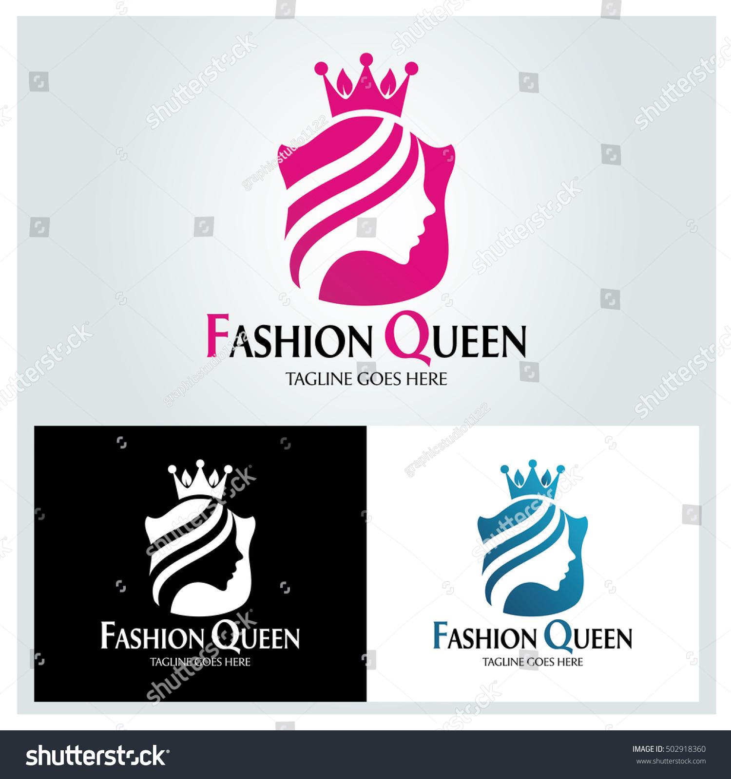 Fashion Queen Logo Design Template Beauty Stock Vector