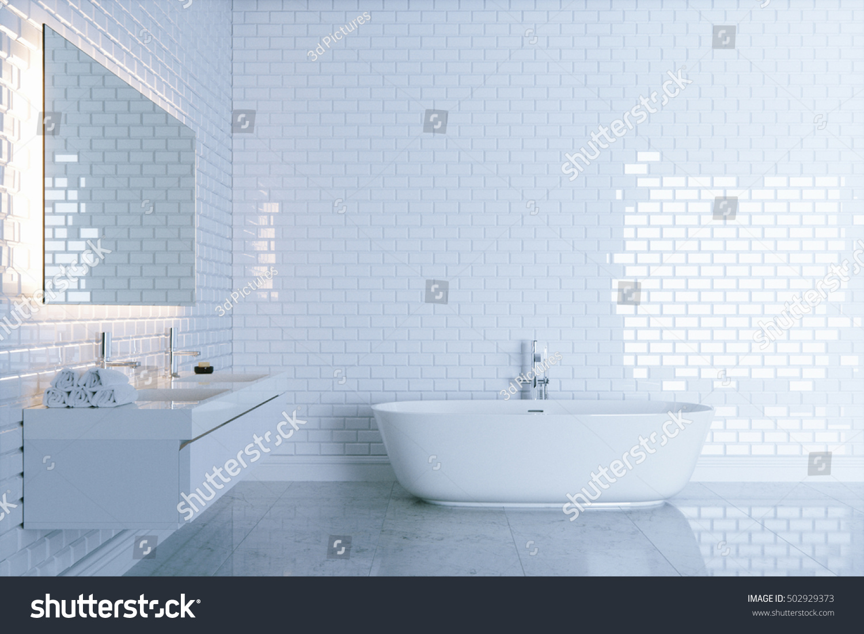 New White Bathroom Big Ceramic Bathtub Stock Illustration 502929373 ...