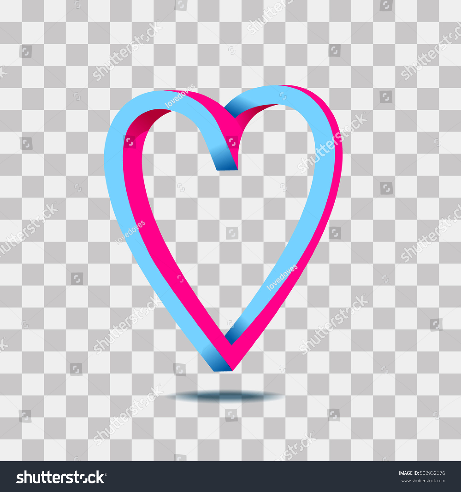 Illustration 3d Isometric Love Symbol Pink And Blue Color Heart Icon