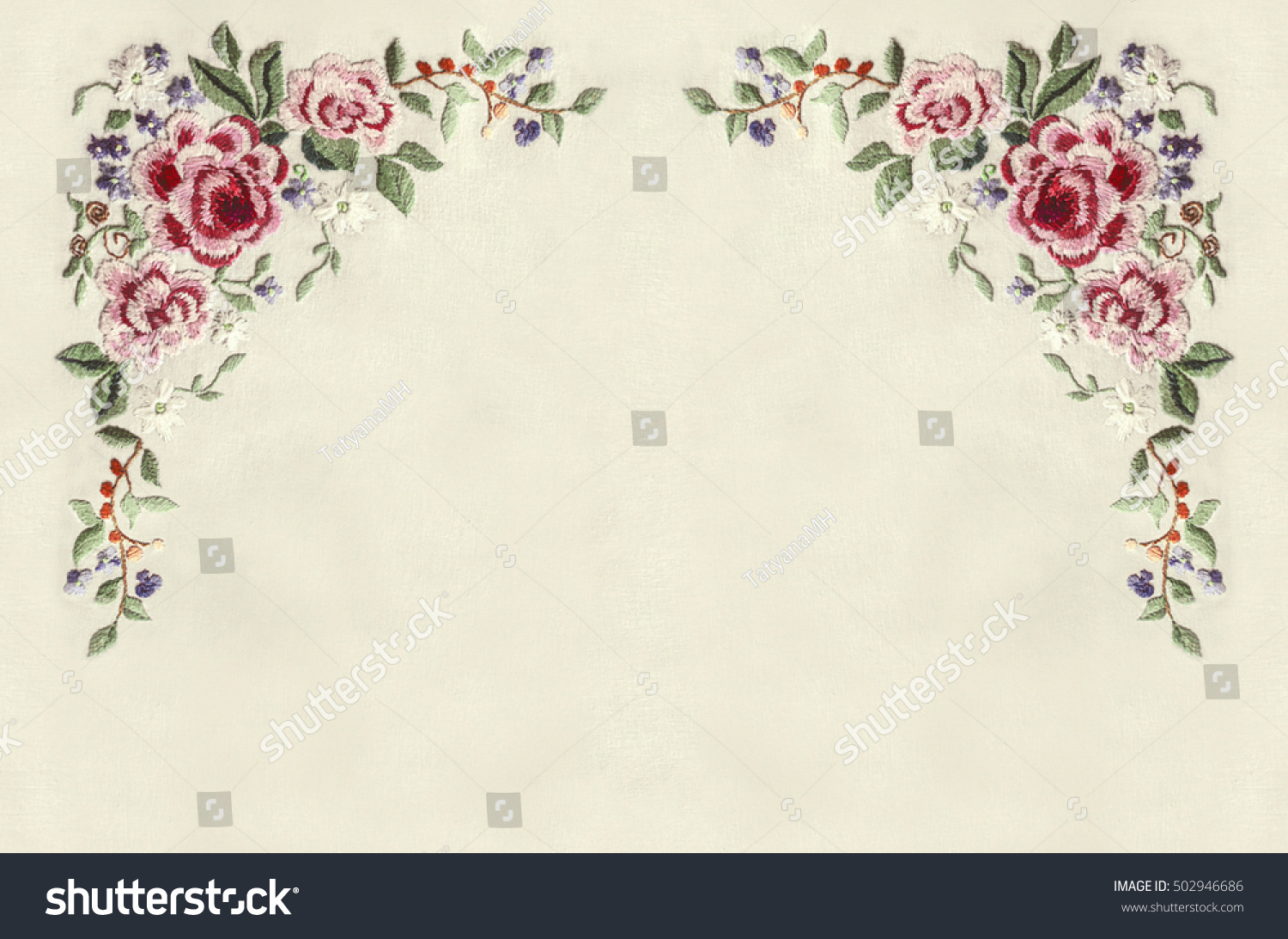 Edge corners embroidery roses small flowers stock photo