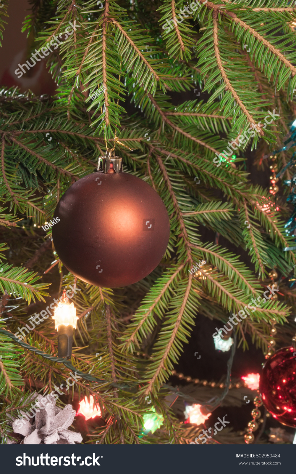 christmas decorations garland on a christmas tree close up ez canvas