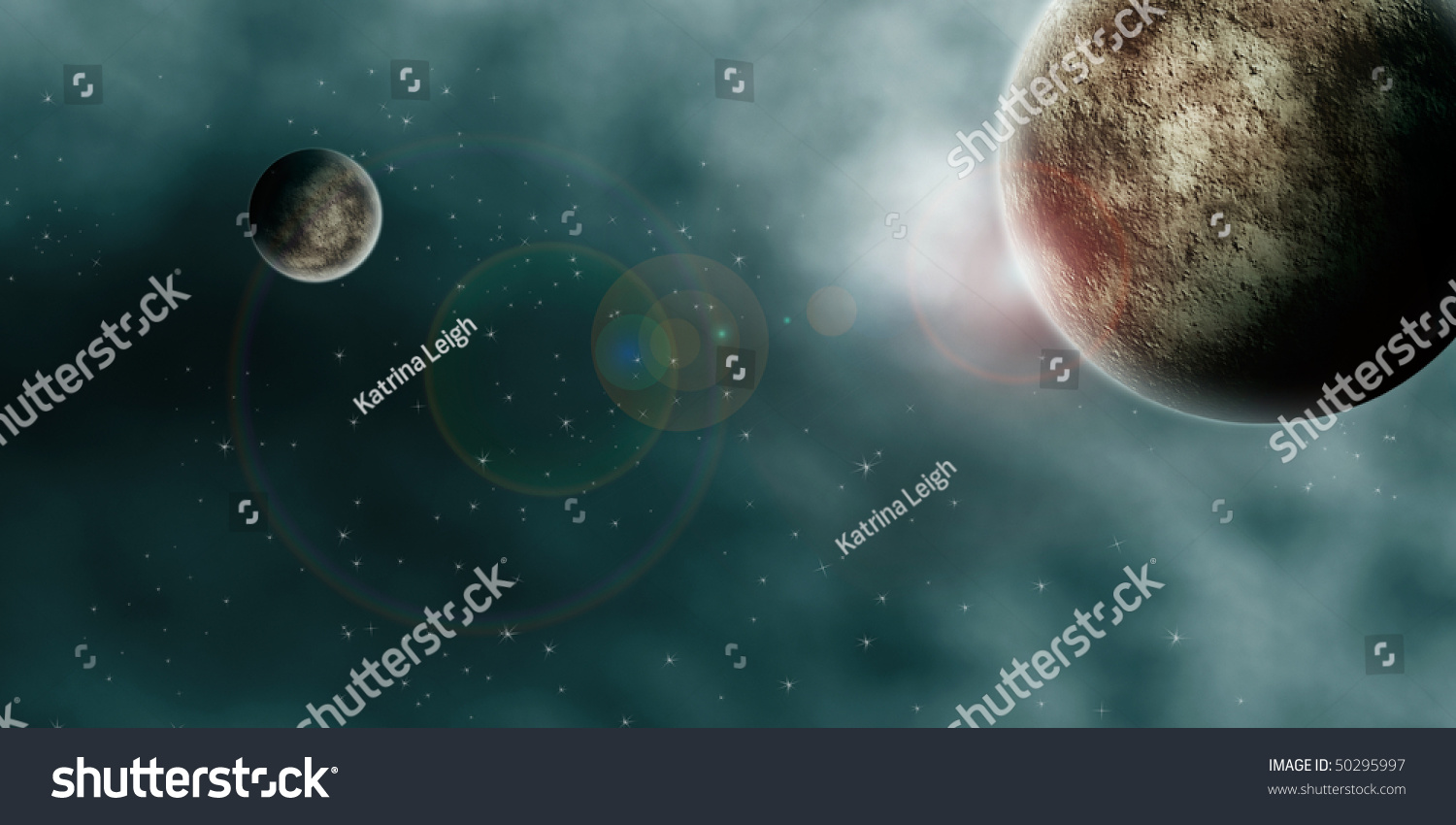 Drawing Planets Nebula Clouds Outer Space Stock Illustration 50295997