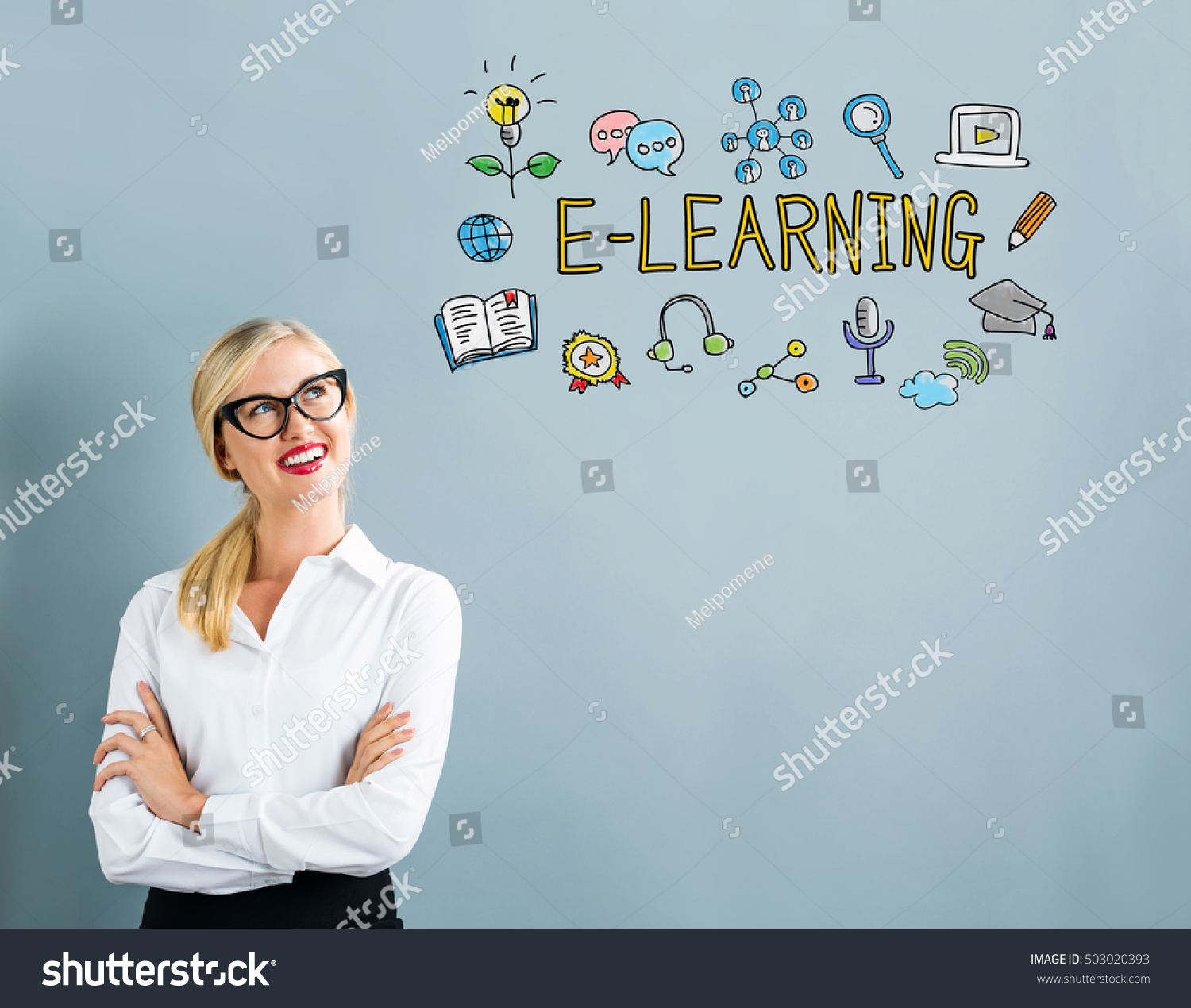 E-Learning text with business woman on a gray background #503020393
