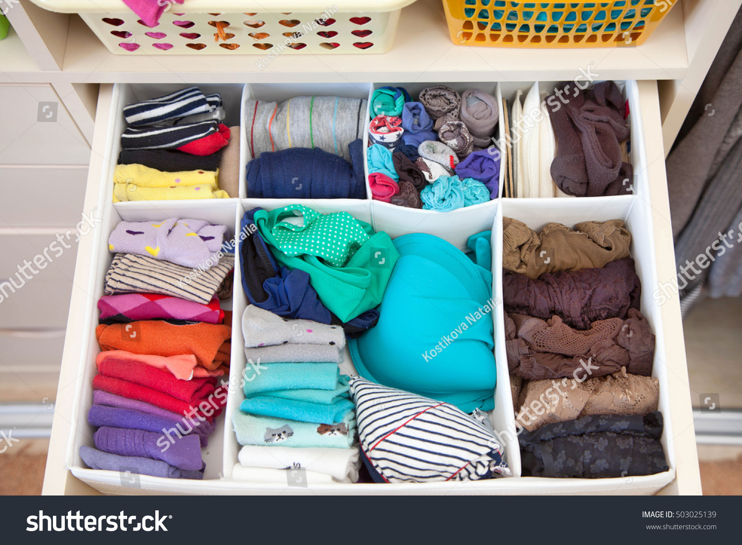 Womenu0027s Clothing In The Drawers Of The Wardrobe. Underwear, T Shirts And  Socks