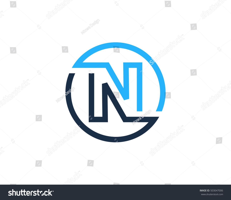 n letter line circle logo design のベクター画像素材 ロイヤリティ