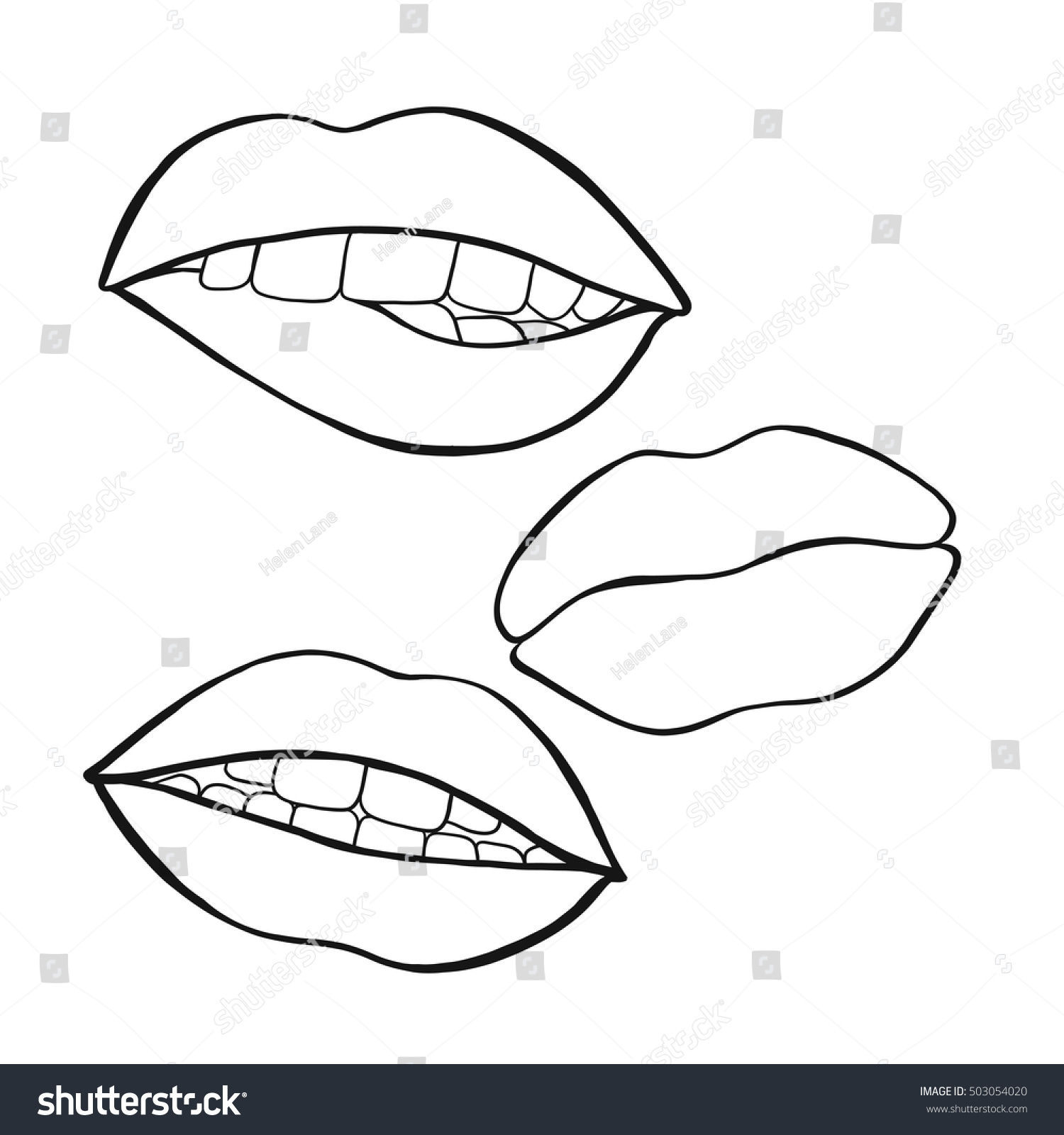This is a photo of Exhilarating Lips Outline Drawing