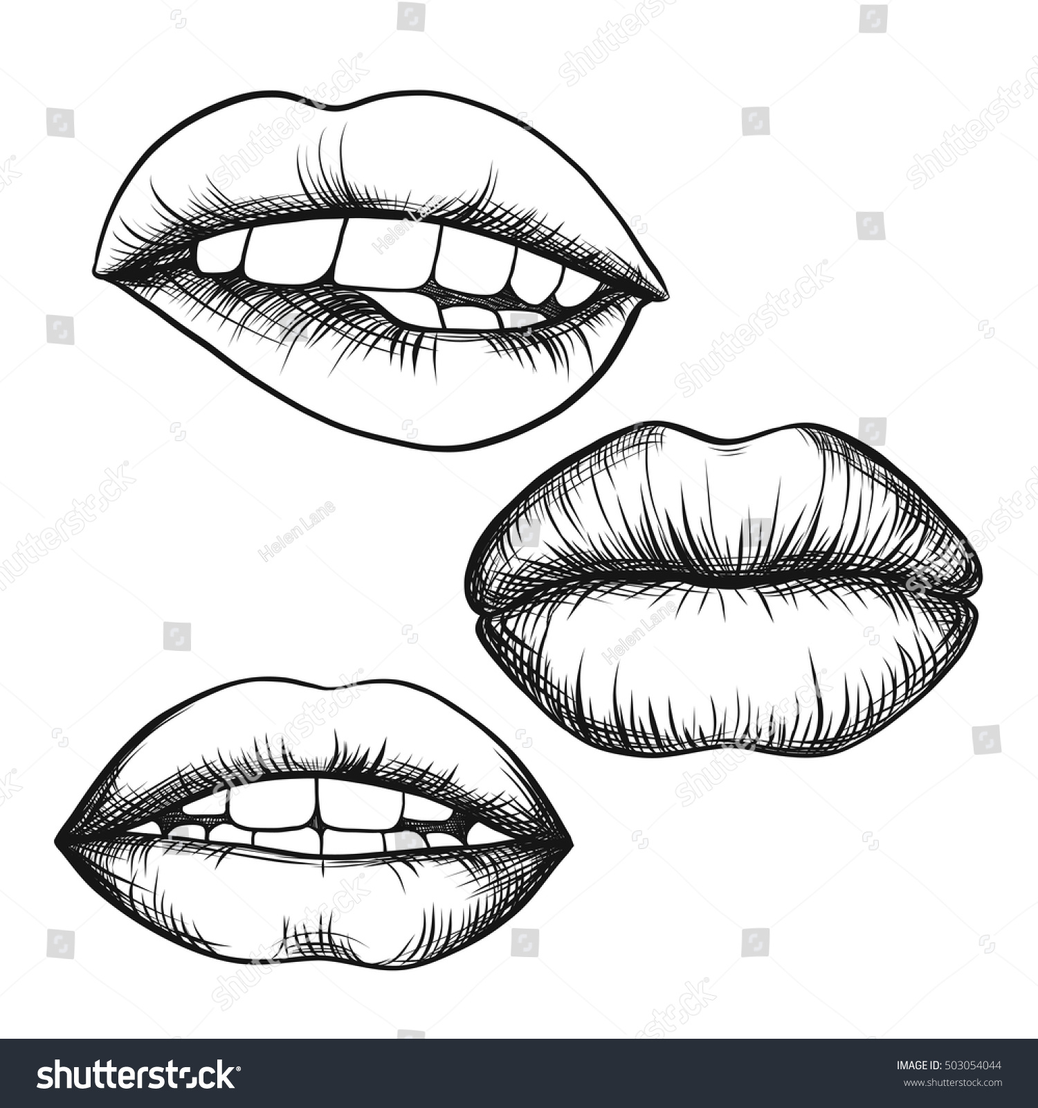 It is a picture of Stupendous Lips Outline Drawing