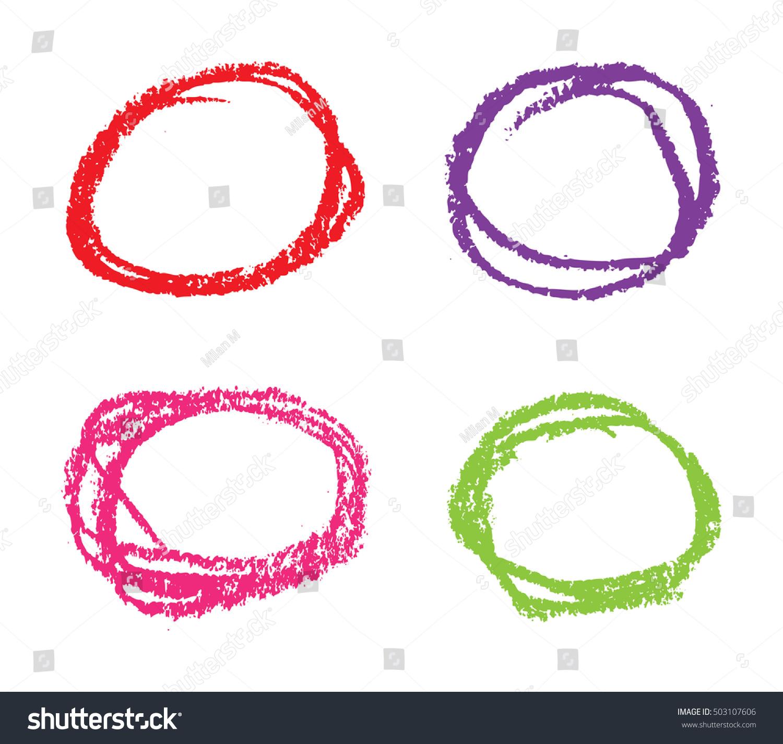 Crayon Colored Circle : Set crayon circleshand drawn circlesvector stock vector