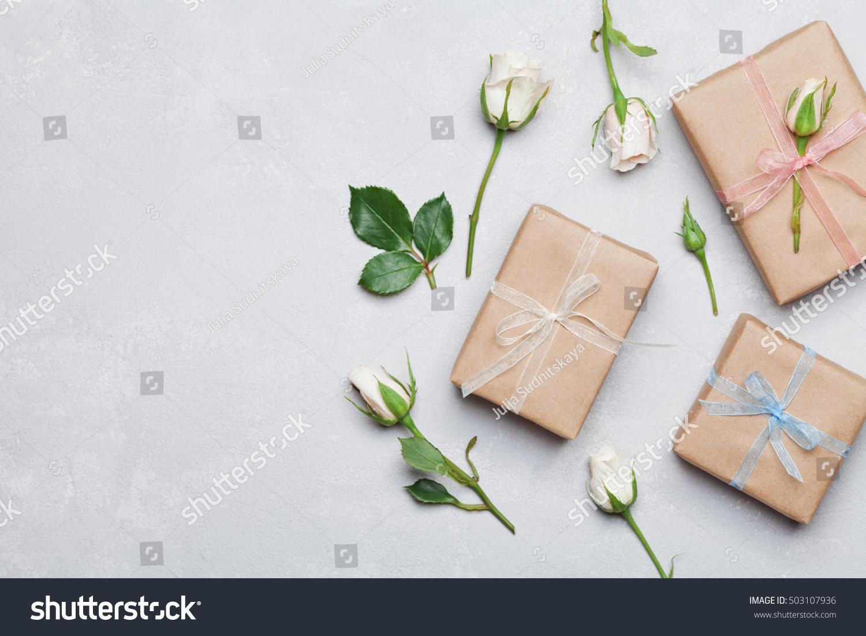 Gift present box wrapped kraft paper 503107936 shutterstock negle Choice Image