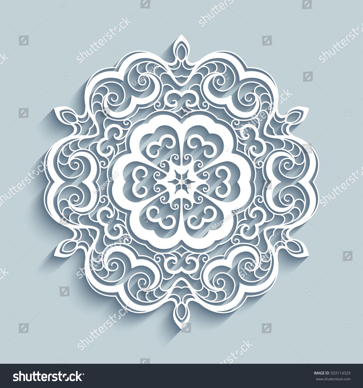 cutout paper lace doily decorative snowflake stock vector