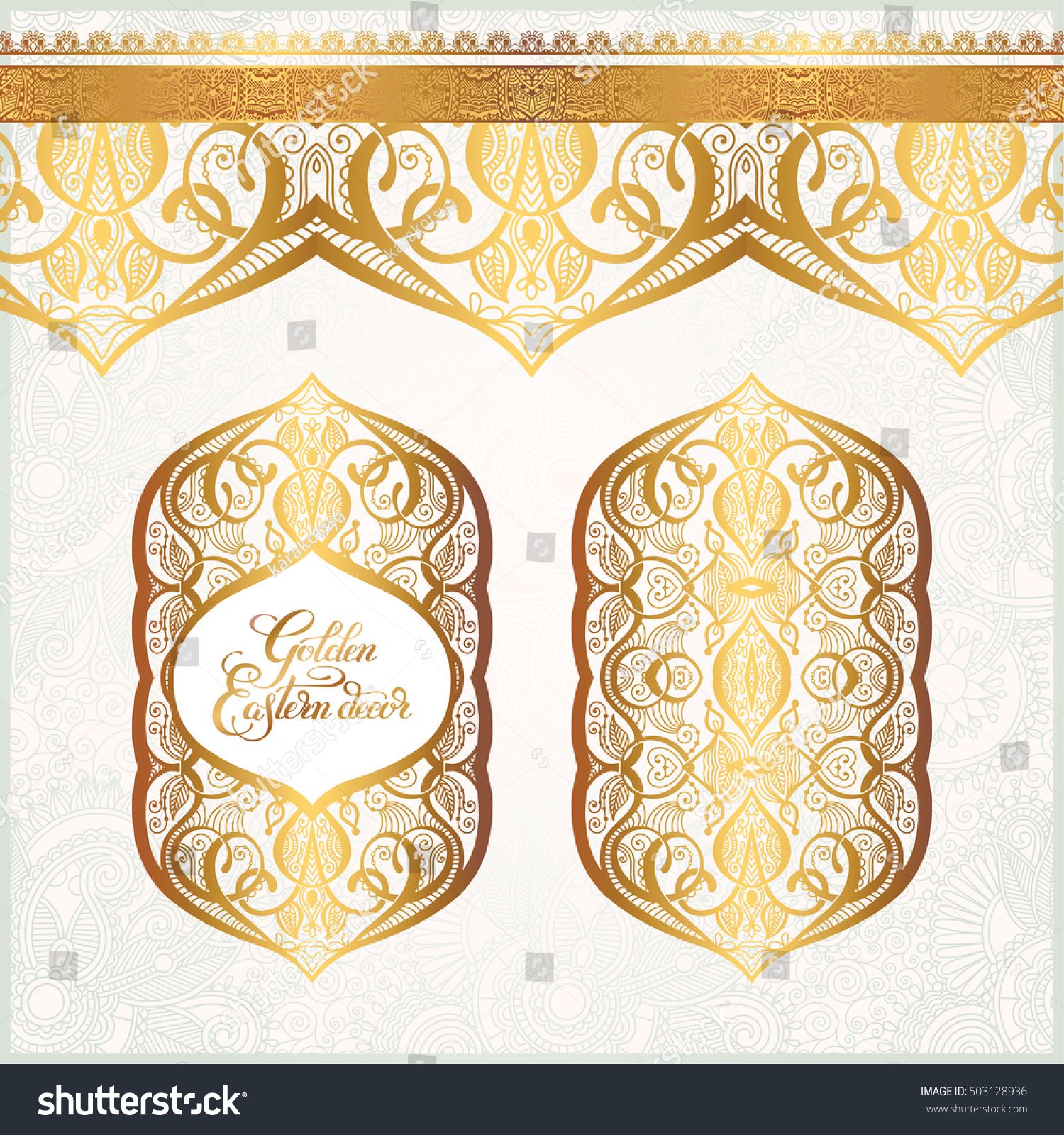 floral golden eastern decor with place for your text  paisley pattern for  wedding invitation. Floral Golden Eastern Decor Place Your Stock Vector 503128936