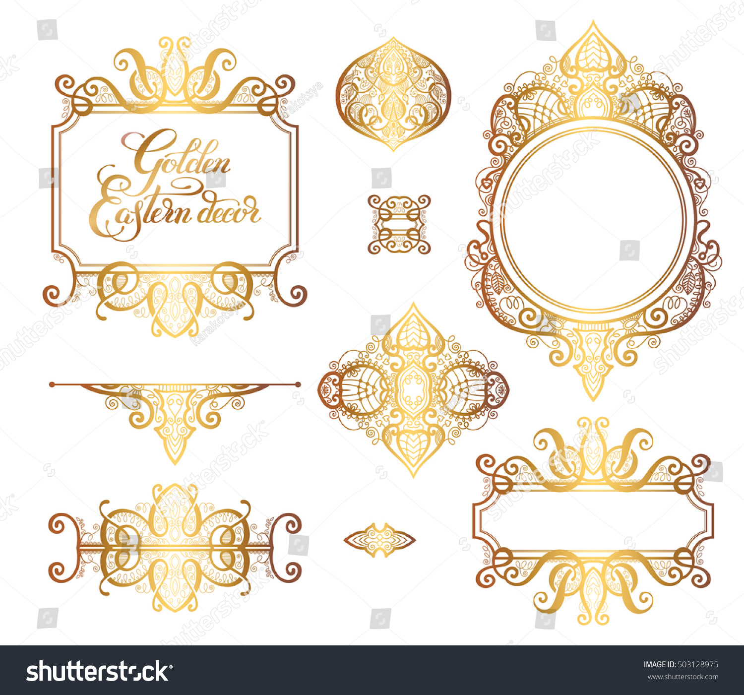 floral golden eastern decor frame elements  paisley pattern for wedding  invitation  birthday greeting card. Floral Golden Eastern Decor Frame Elements Stock Vector 503128975