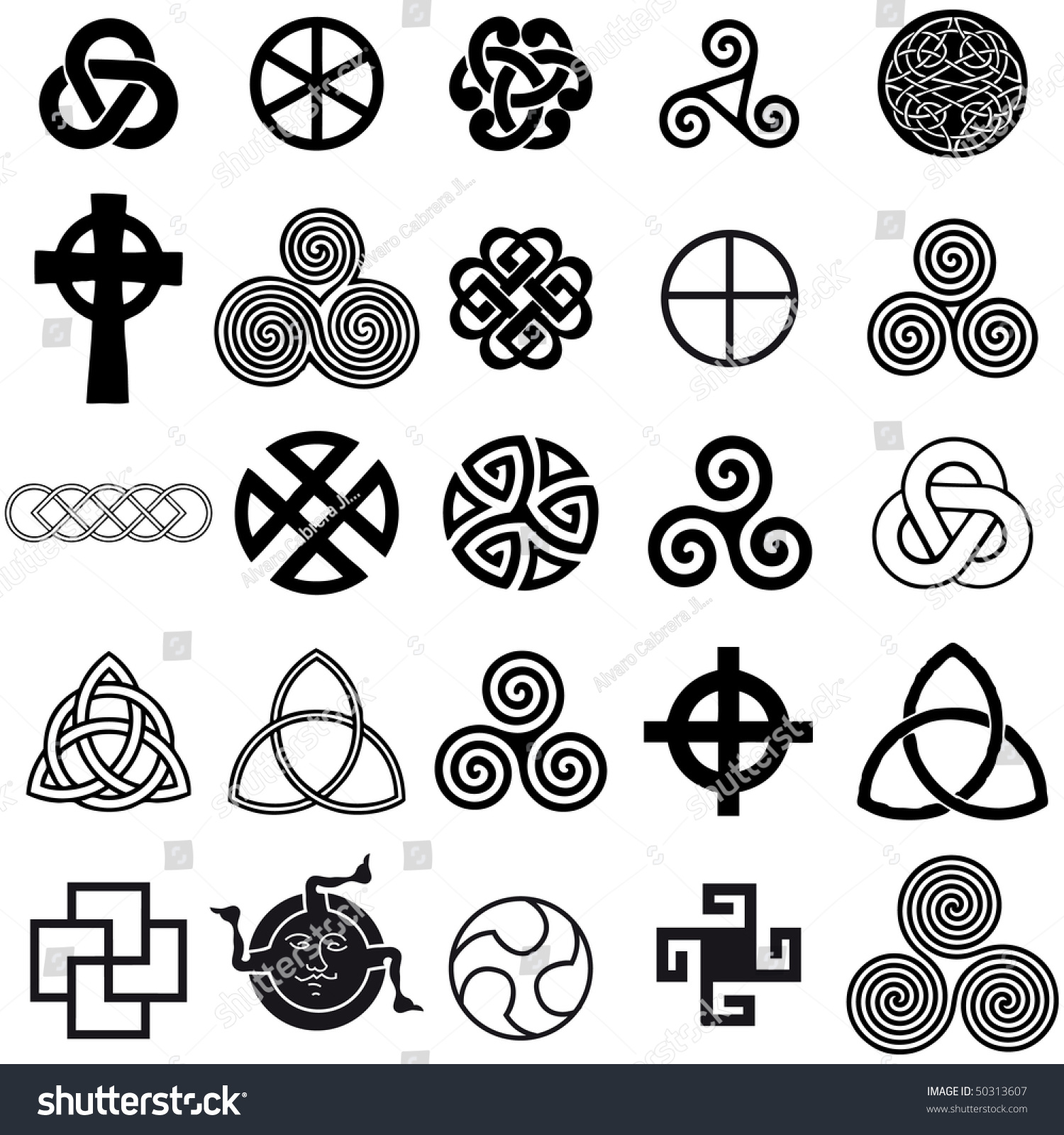 Set Celtic Symbols Icons Vector Tattoo Stock Vector Royalty Free