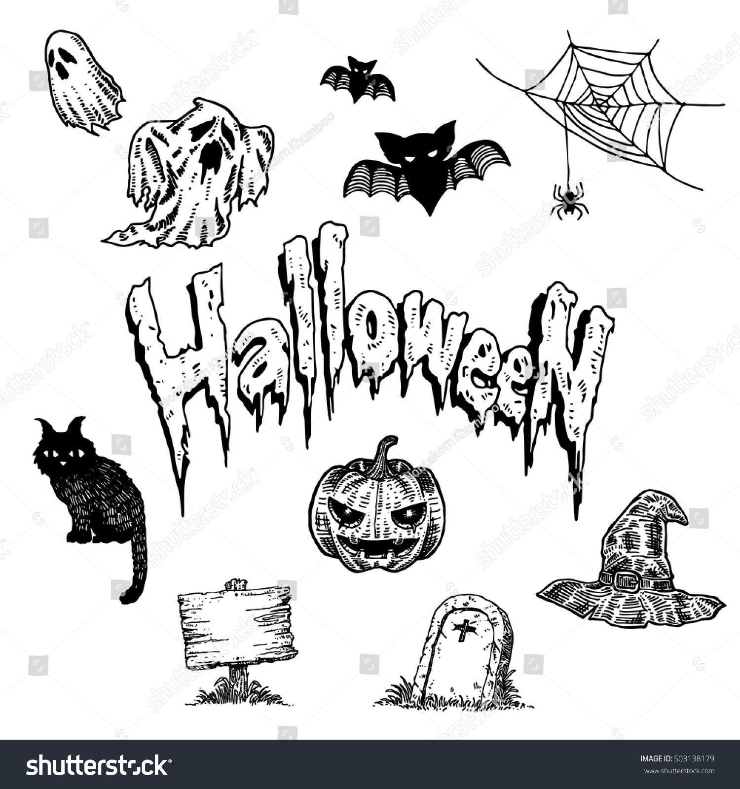 vintage black white hand draw halloween stock vector (royalty free