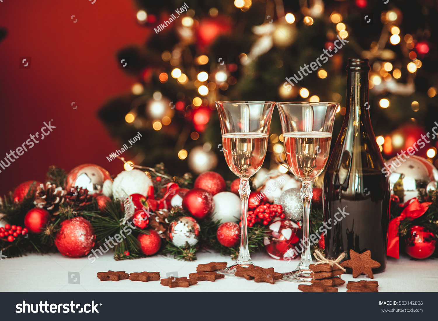 Christmas still life two glasses champagne stock photo