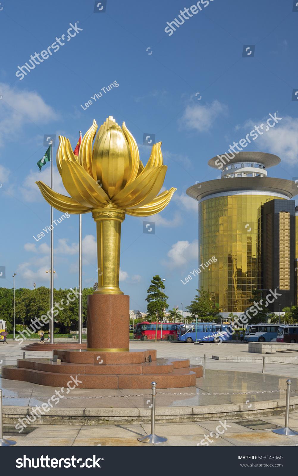 Lotus flower full bloom statue macau stock photo edit now lotus flower in full bloom statue at macau golden lotus square izmirmasajfo
