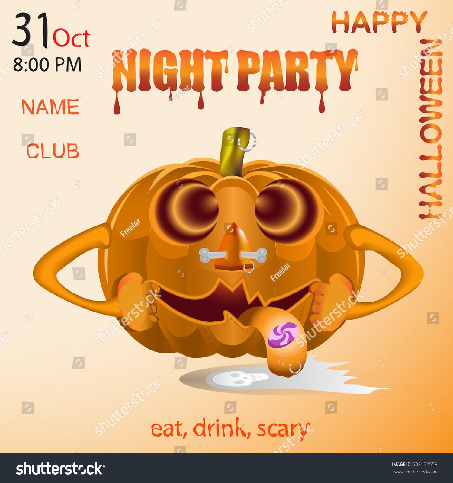 Pumpkin Halloween Vector Banner Design Template Halloween Stock ...