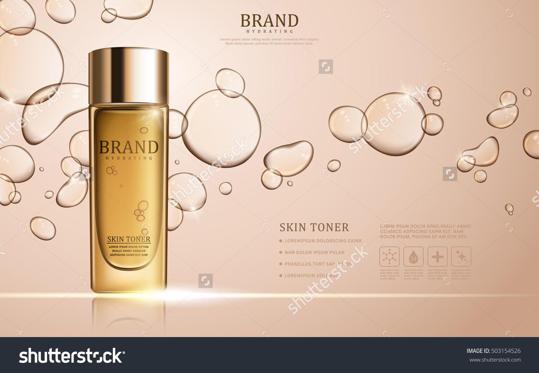 Skin toner ads template, glass bottle mockup for ads or magazine. Transparent liquid drip on background. 3D illustration.
