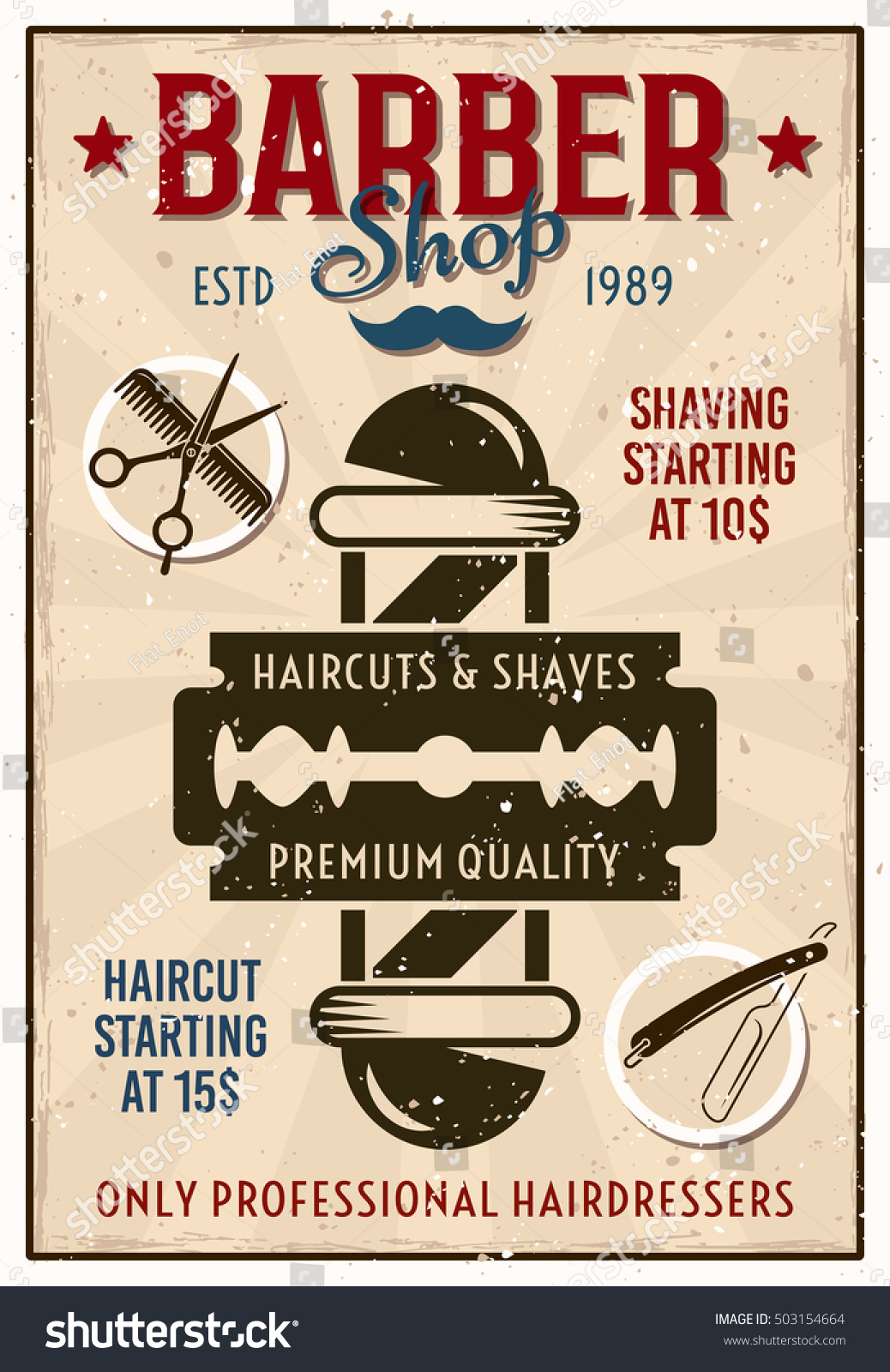barber shop haircut poster barber shop vintage colored poster pole stock vector 3959