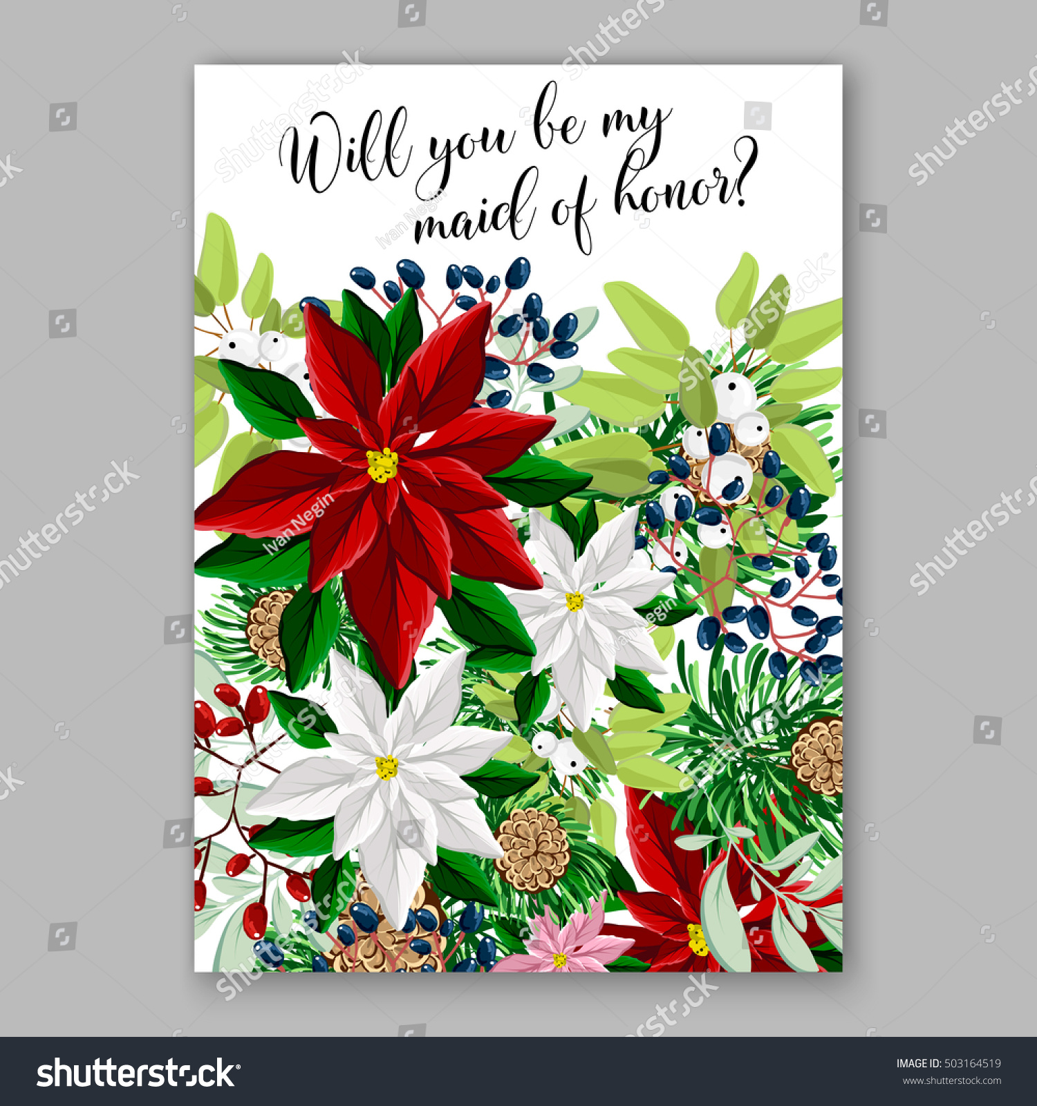 Bridal Shower Invitation Card Template Winter Stock Vector (Royalty ...