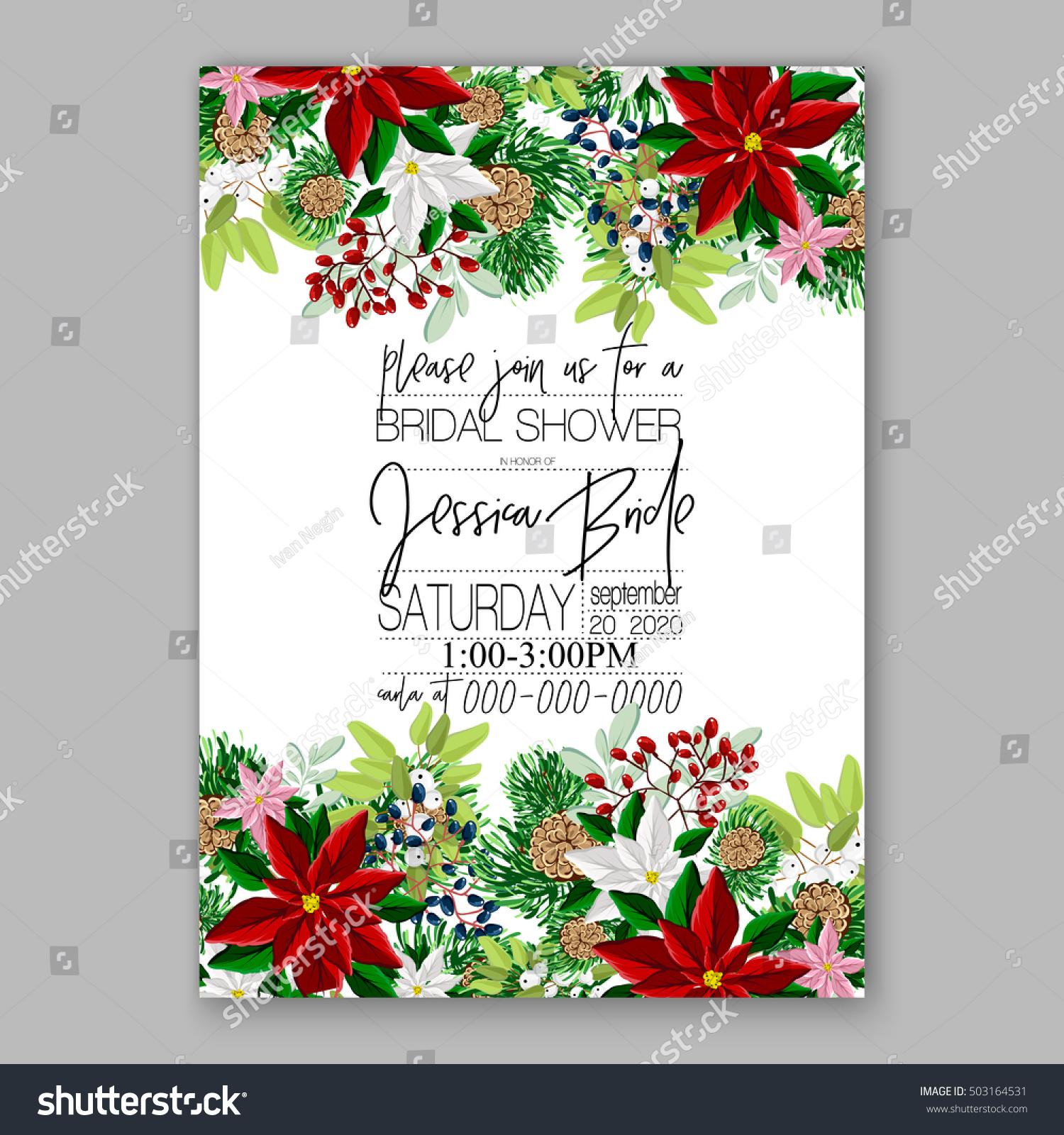 Bridal Shower Invitation Card Template Winter Stock Vector ...