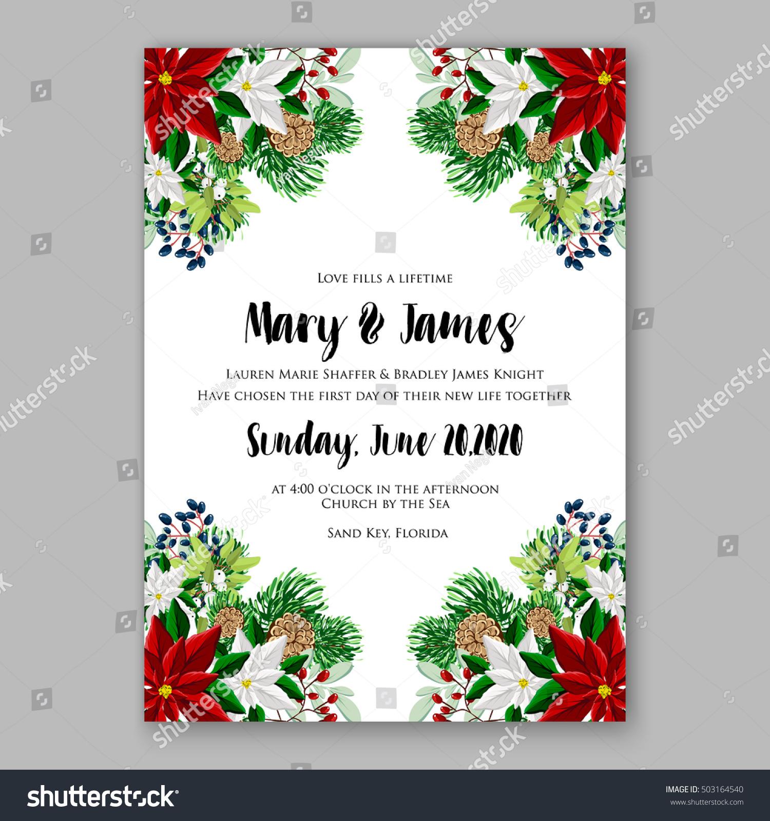 Bridal Shower Invitation Card Template Winter Stock Vector 503164540 ...