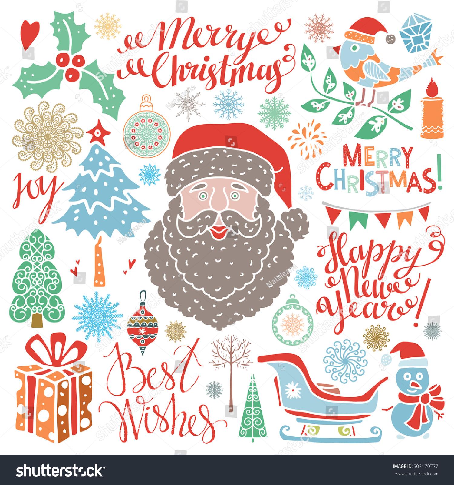 Christmas icons signs symbols handwritten text stock vector christmas icons signs symbols handwritten text santa claus tree snowflakes buycottarizona Image collections