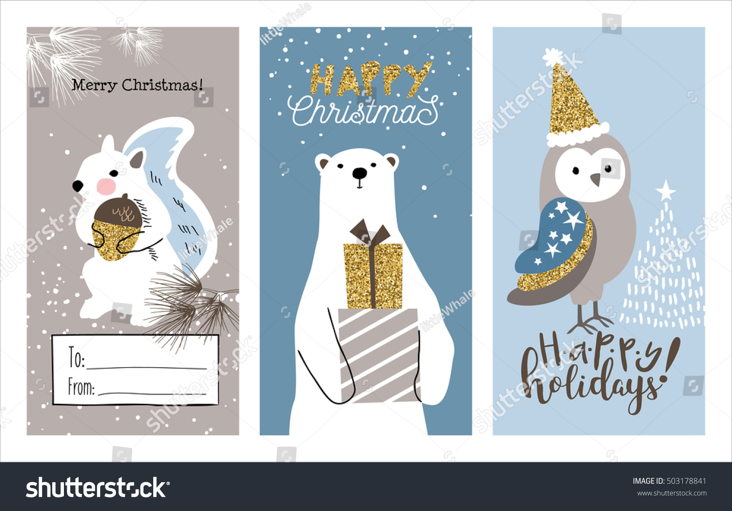 Set Christmas Cards Cute Little Squirrel Stock Vector (Royalty Free ...