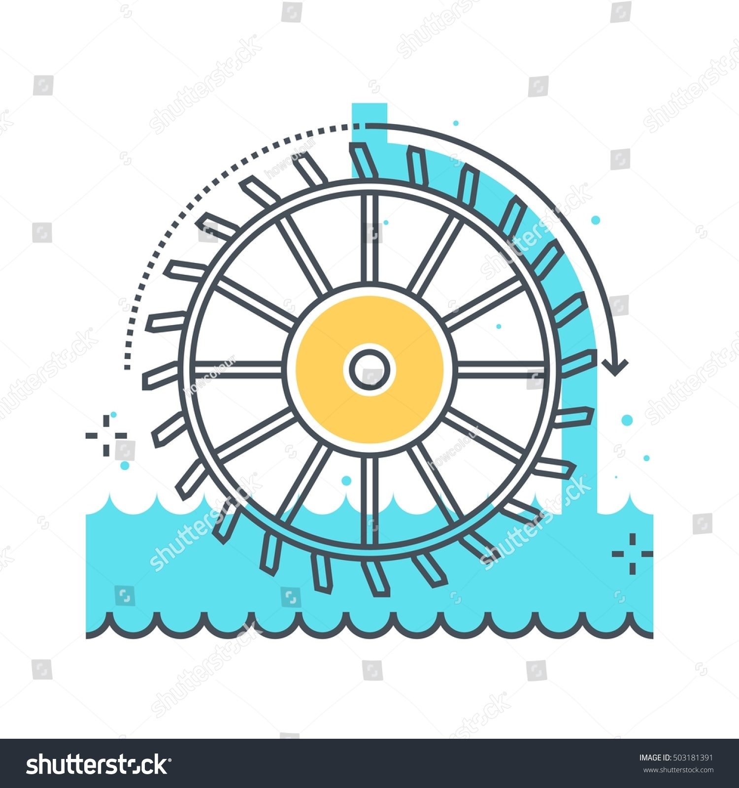Color Line Hydro Power Illustration Icon Stock Vector Royalty Free Hydroelectric Plant Diagram Background And Graphics The Is