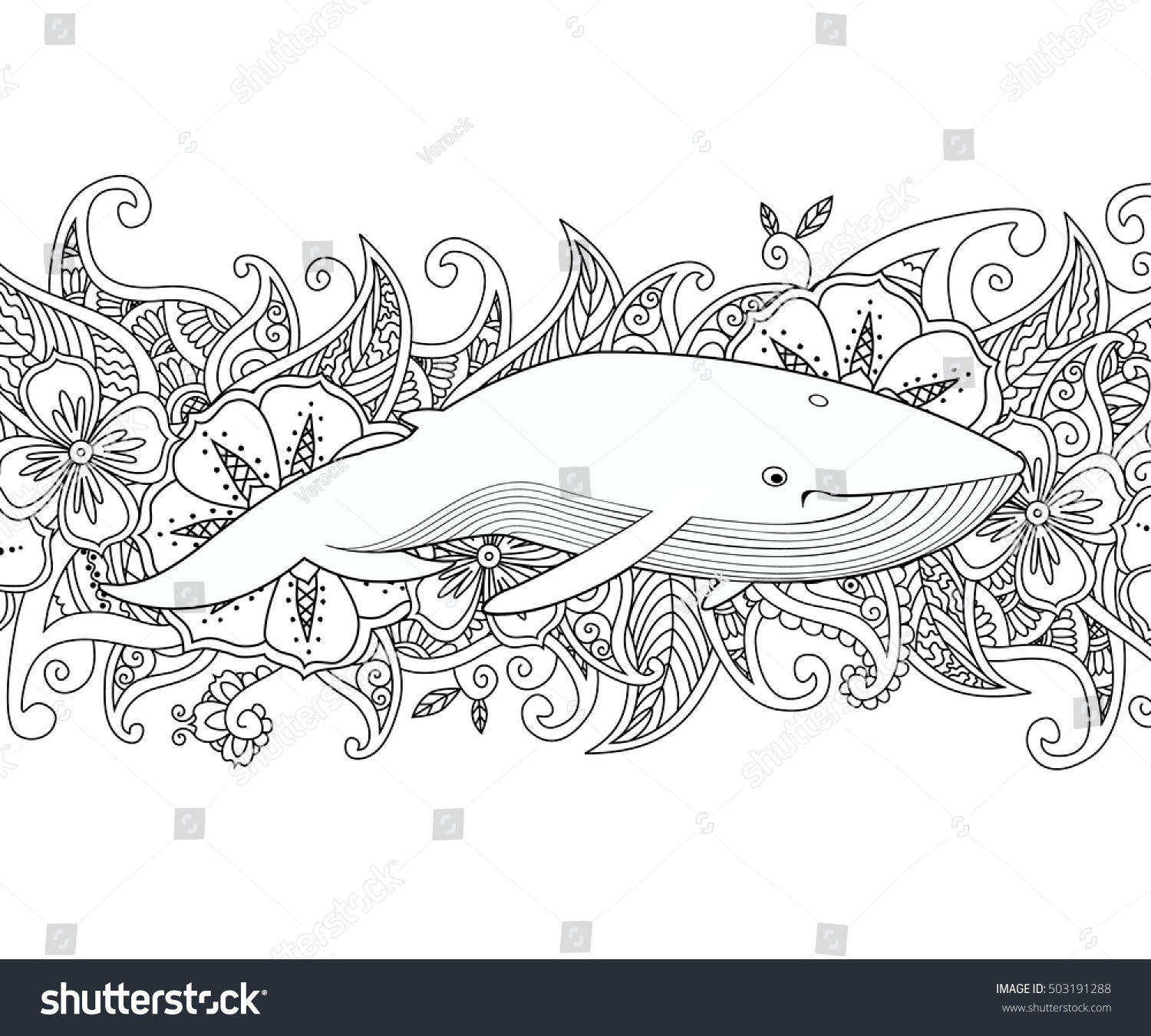 coloring page whale sea on flower stock vector 503191288