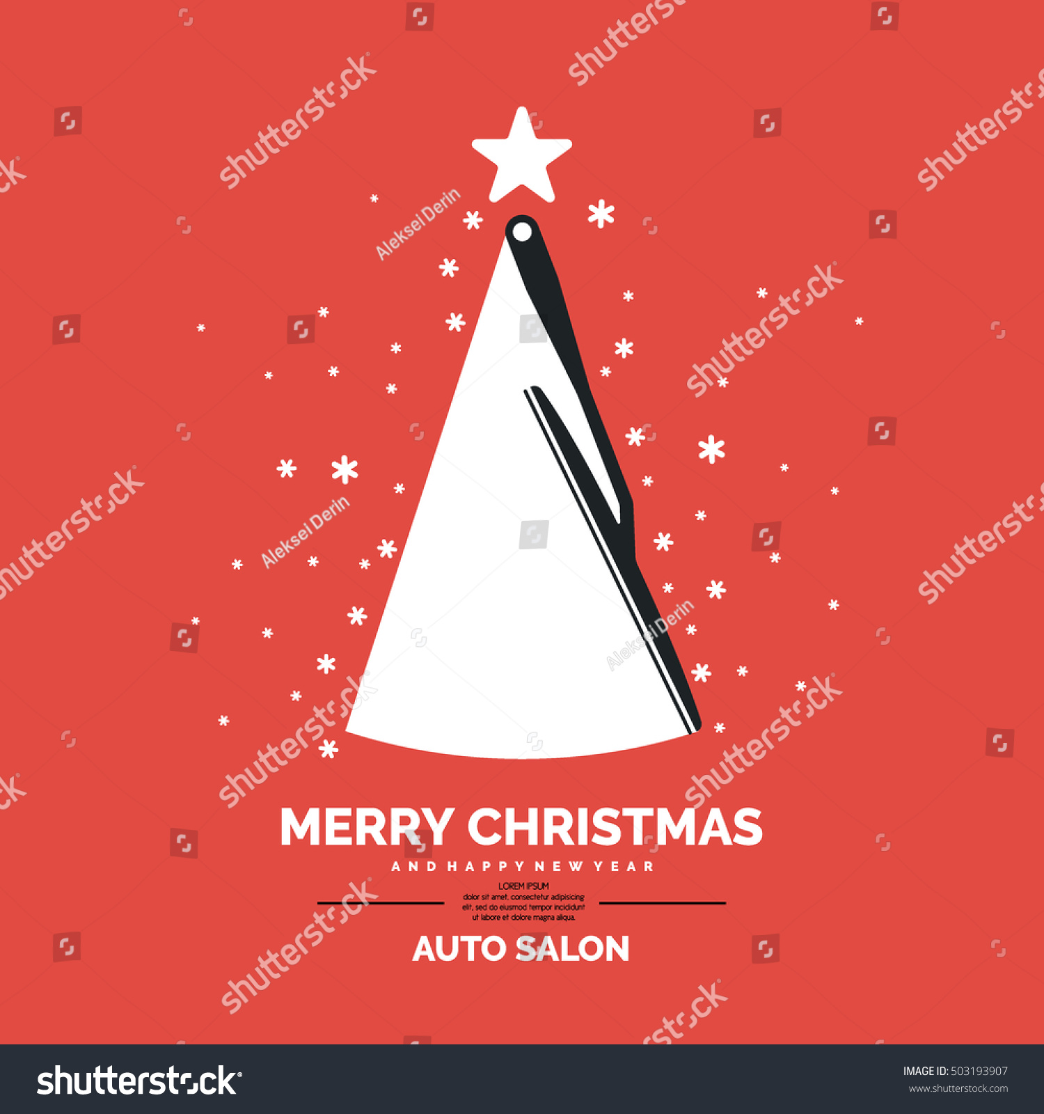 Poster Auto Salon Merry Christmas Happy Stock Vector Royalty Free