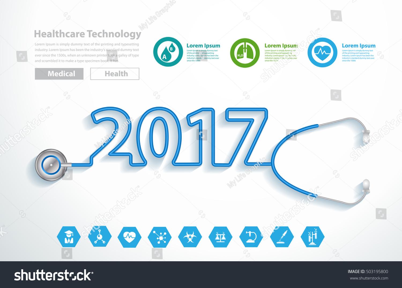 Stethoscope heart creative design ideas concept, Happy new year 2017 calendar cover, typographic vector illustration.
