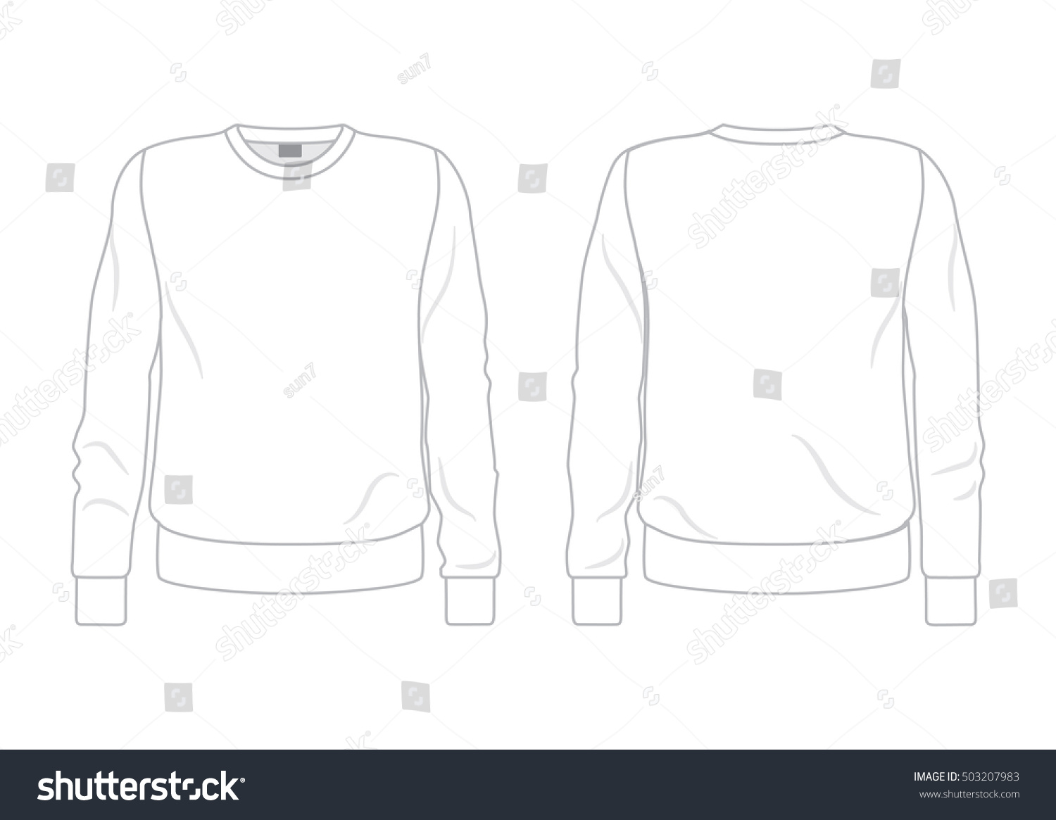 White men's sweatshirt template front and back view #503207983