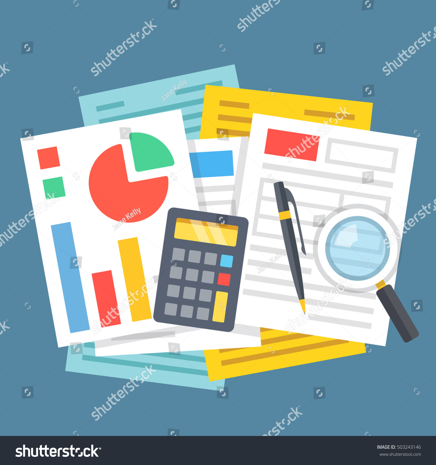 Paperwork Office Work Financial Analysis Accounting Stock
